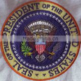 Hot sale round shape eagle logos 100% custom embroidery patches & emblems for uniform