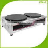 Commercial Stainless Steel Electric Double Plate Crepe Maker Machine/ Crepe Cooking Machine EM-2