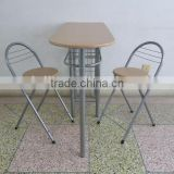 modern appearance wooden MDF panel type wholesale metal dining table set 1+2 for breakfast