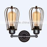 Edison bulb wire cage indoor wall light black color industrial style lights and lighting lamp