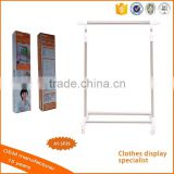Best quality Movable metal display of Clothing Rack on Wheels,tire display rack with shoe rack shelf
