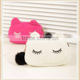 Fashion Design Lovely Cat Face Korean cosmetic bag women evening party makeup bag for lady                                                                         Quality Choice