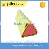 Personalized microfiber handmade triangle folding sun glasses case                                                                         Quality Choice