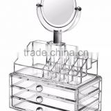 Acrylic Makeup Organizer with Drawer Cosmetic Organizer, Lipstick Holder and Brush Holder, Mirror, can be combined freely