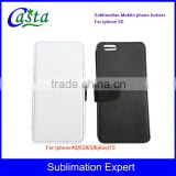 Customized Blank Sublimation PU Mobile phone holster Left and right open Sublimation cell phone holster for iphone 6