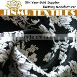 JINMU textiles Black/White Flower Polyester Cotton Stretch Plain Dyed Jacquard Knit Fabric