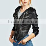 Sexy long sleeves V-neck studded motorcycle jacket/new arrival western style leather jacket