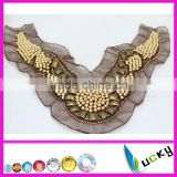 2014 newest beads embroidery neck collar ,neck piece for garment decoration all handmade lace collar