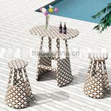 2015 Garden Resort PE Rattan wicker Various Size bar table and chair Bar set outdoor furniture