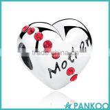 Romantic 925 Sterling Silver Ruby Heart Mother Word Beads Charms Fit Bracelet Gift for Mother