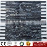 IMARK Black & White Wood Color Marble Mosaic Tile with Polish Finished Surface Code IVM7-003