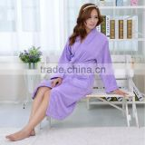 Purple microfiber woman wear bathrobe