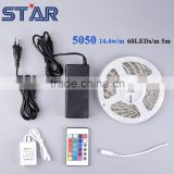 5m SMD 5050 Flex LED Tapes 60leds/m RGB IP65 drip glue waterproof+ power supply+controller set christmas light holiday light