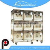 RBS53P-6 3 layer 9 cages stainless steel laboratory rabbit cages