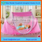 Polyester portable stainless steel baby cot with mosquito net