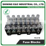 FS-017B 600V 10 Amp 7 Way Midget Type Din Rail Glass Fuse Base