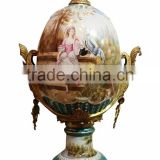 European Character Style Ceramic Egg Shaped Jar Box, Elegant Porcelain With Brass Prize Cup, Figure Design Footed Jar With Lid