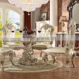 European Rococo Solid Wood Ivory Color Round Dining Table,Villa Use High End Dining Room Furniture(MOQ=1 SET)
