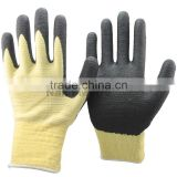 NMSAFETY 13 gauge aramid fibers heat resistant and lycra knitted U3 liner coated black high technology foam nitrile gloves