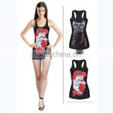 Custom sublimation printed womens tank tops workout with running dry fit fabric