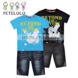 wholesale summer casual branded baby Boy's 2piece t-shirt set short-sleeve t-shirt + jeans pants short
