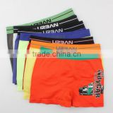 2017 OEM New Fashion Your Own Brand Logo Design 95% Bamboo fiber 5%Spandex 3D Print Logo Sport Stretch Kids Boy Boxer Underwear