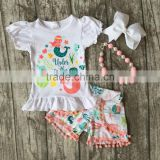 new Summer baby girls clothes mint coral mermaid under the sea boutique short kids cotton kids wear ruffles match accessories