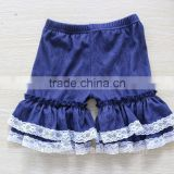 children clothing pants denim ruffle lace shorts fashion stretch denim ruffle shorts for toddler baby