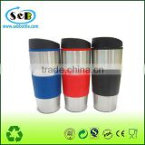 Promotional plastic travel thermal mug with silicone band and removeable lid,450ml Personalized double wall plastic auto/car mug