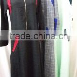 black check casual sunshine hemp muslim dress/ muslim islamic fashionable abaya kaftan dresses/fancy dl islamic muslim dress