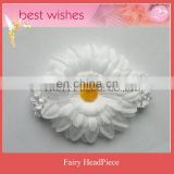 White Flower with wide Elastic Baby HeadBand