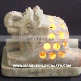 Hand Carved Stone Tea Light Candle Holder Elephant shape