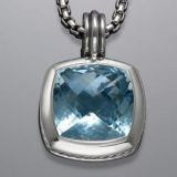 Sterling Silver DY Designs Inspired 17mm Blue Topaz Albion Pendant
