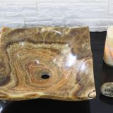 brown dragon onyx Bathroom Wash square Basin Natural Stone Vessle Sink