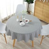 Nordic polyester cotton round table cloth Color yellow rice word gray arrow cotton and linen printing tablecloth