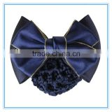 Hot selling navy blue bow hair net for business women hair accessories