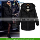 New Fashion Fur Collar Hooded Thick Warm Duck Down Jacket Long Coat Womens Parkas Black Down Coat