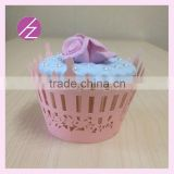 laser cut paper gift box cupcake wrappers decoration birthday laser out cake fence style assorted colours DG- 86