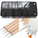 Hotselling nail art kit black case 20pcs wooden nail art dotting tool and brush