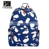 China suppliers alibaba wholesale Whale pattern print backpack girls school backpack                                                                         Quality Choice