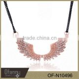 wholesale fashion woman rhinestone alloy angel wings pendant necklace