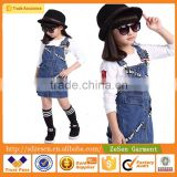 Hot Sale Beautiful Carton Kid Jeans Straps Skirt Dress For Children Girl