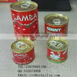 Jiangxi Bailin factory supply lower price and high quality 210g*48tins canned tomato paste