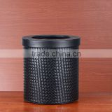 High-grade household trash leather leather double iron container trash European office wastebasket instoragebarrels
