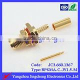 Waterproof connector Reverse Polarity SMA female body with male pin crimp straight for RG316 cable bulkhead