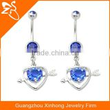 heart and arrow dangling navel stud navel belly ring body piercing jewelry with zircon