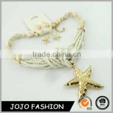 New trendy big jewelry with sea star design fashion white seed bead jewelry set                                                                                                         Supplier's Choice