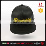 Black 6 panel PU leather yellow embroidery cap snapback with High quality                                                                         Quality Choice