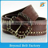 Men's Quality Brown Two Row Studded Fake PU Leather Stitched Jean Belt