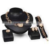 Imitation Brand Jewelry Set Oval Crystal Gold Metal Charm Chain Jewelries 4pcs Jewelry Set For Women